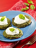 Spinach pancakes with a yoghurt dip and basil