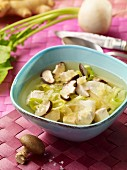 Radish soup with chicken and mushrooms