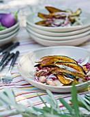 Grilled aubergine with pancetta