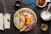 Pancake with mandarins, caramelised carrots and cottage cheese