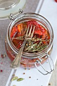 A marinade of dried tomatoes, olive oil and rosemary
