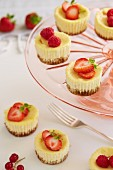Mini cheesecakes with strawberries, raspberries and ginger biscuit bases on a cake stand