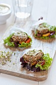 Vegetable burgers with lettuce and tomatoes