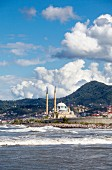 Strong waves on the coast by the Sarayburnu mosque at Bulancak, Turkey