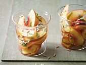 Nectarine salad with maple syrup and basil for an alkaline diet