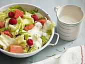 Lettuce with watermelon, raspberries and basil