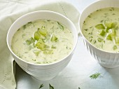 Cold cucumber soup with cream and dill for an alkaline diet