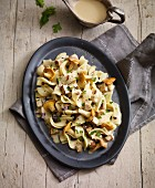 Tagliatelle with chanterelle mushrooms and tofu