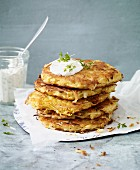 Parsnip and potato cakes with a herb dip for an alkaline diet