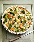 Broccoli and carrot quiche for an alkaline diet