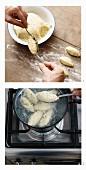 Basilikum-Kartoffelnocken abstechen und garen