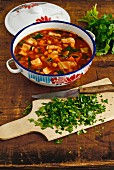 Portuguese fish stew with chickpeas and tomaotes