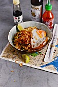 Fried rice with chicken, soy sauce and fried egg (USA)