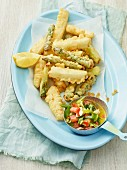 Asparagus tempura with a mint dip