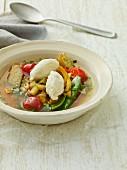 Summer vegetable stew with ricotta dumplings