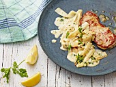 Asparagus pasta with veal escalope