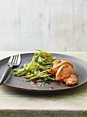 Chicken escalope with a bean salad (Asia)