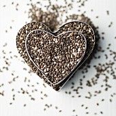 Chia seeds in heart-shaped cutters