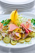 Ham salad with pear, gherkins and bean sprouts