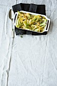 Fennel gratin with pepper cream