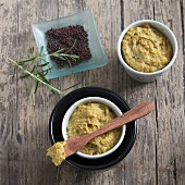 Homemade truffle mustard with rosemary