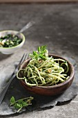 Linguini with wild garlic