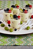 Lemony, herb and yoghurt mousse with fresh fruit