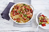 Millet bake with colourful peppers, spring onions and Pecorino cheese