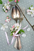 Cutlery with apple blossoms
