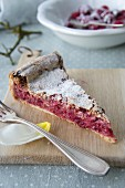 A slice of raspberry cake with frozen blackberries