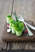 Cucumber rolls with radishes