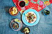 Tacos with guacamole and salsa (Mexico)