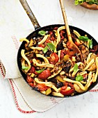 Pasta caponata with aubergines and tomatoes
