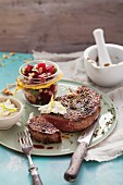 Rump steak roasted in porcini mushroom salt served with a beetroot salad