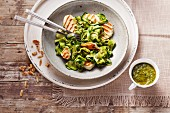 Halloumi with courgette and pesto pasta