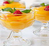 Mango dessert in dessert glasses