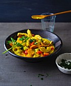 Vegetable curry with fresh pineapple and turkey breast strips