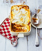 Kohlrabi and minced meat lasagne