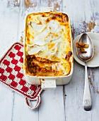 Kohlrabi and minced meat lasagne