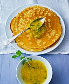 Spelt crepes with mint and orange compote