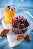 A beetroot salad and a spicy orange salad with red onions