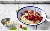 Raspberries with warm porridge