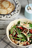 Asparagus salad with mange tout, green beans and pancake strips