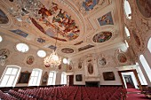 The Kaisersaal with its elaborately decorated 17th century ceiling in Schloss Corvey, Höxter, East Westphalian