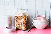 Roasted spelt muesli with oats, apple crisps and maple syrup