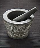 A stone mortar with a pestle
