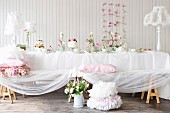 A romantic buffet with cake and biscuits
