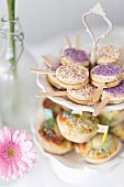 Biscuit lollies and and buns on a cake stand