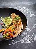 Steamed sole fillet with vegetables