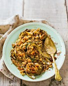 Roasted artichokes with anchovy crumbs